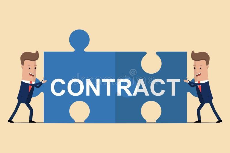 Dwa biznesmena trzyma łamigłówka elementy z teksta kontraktem pojęcia różna ręk partnerstwa kawałków łamigłówka dwa również zwróc ilustracja wektor