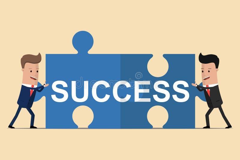 Dwa biznesmena trzyma łamigłówka elementy z teksta sukcesem pojęcia różna ręk partnerstwa kawałków łamigłówka dwa również zwrócić ilustracji
