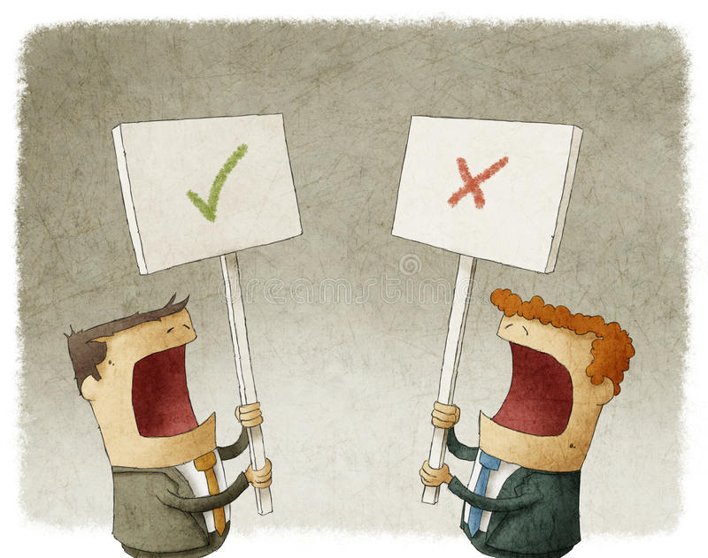 Dwa biznesmena trzyma znaka protestuje z różnymi opiniami ilustracja wektor