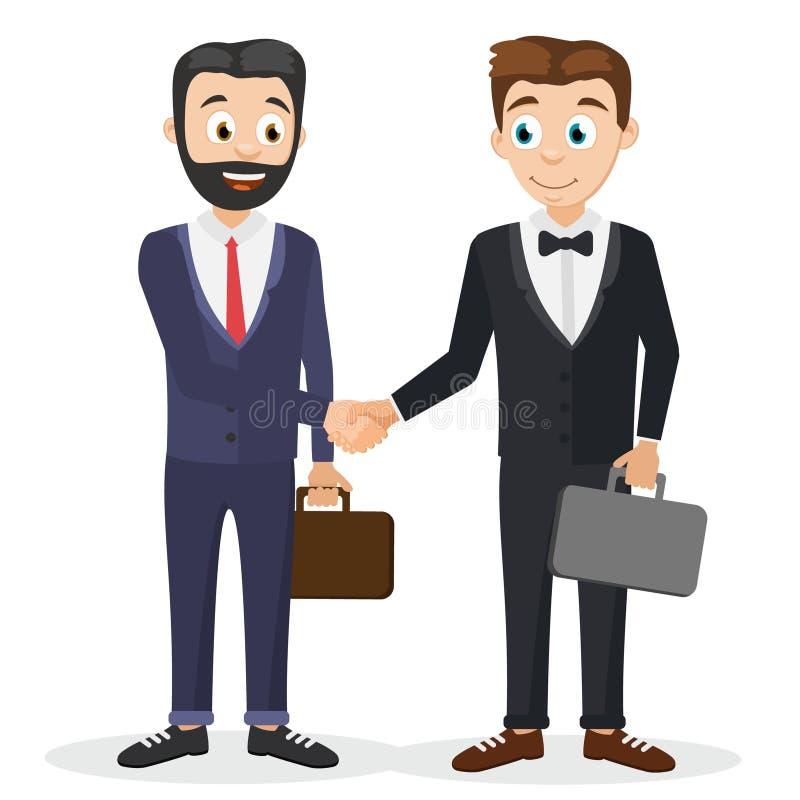 Dwa biznesmena w kostiumach z walizkami trząść ręki ilustracji