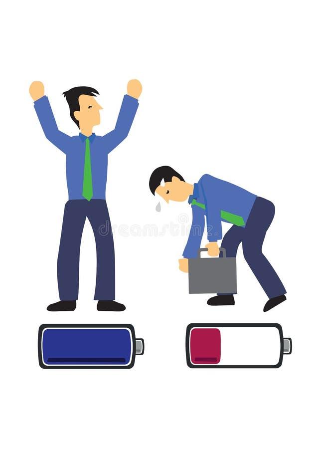 Dwa biznesmena z szczęśliwymi i nieszczęśliwymi bateriami Pojęcie pracy zmęczenie ilustracja wektor