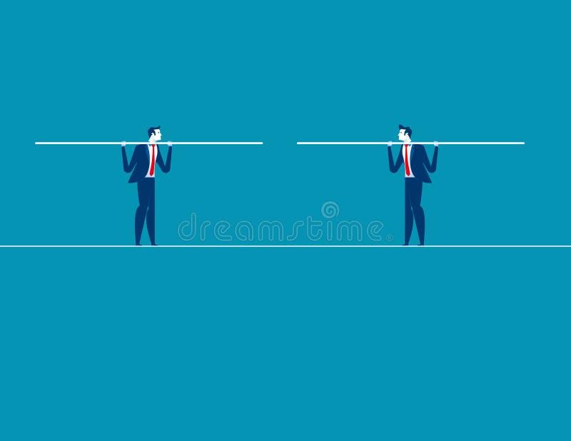 Dwa biznesmena zbiegają się na balansowanie na linie Pojęcie biznesowy wektor ja ilustracji