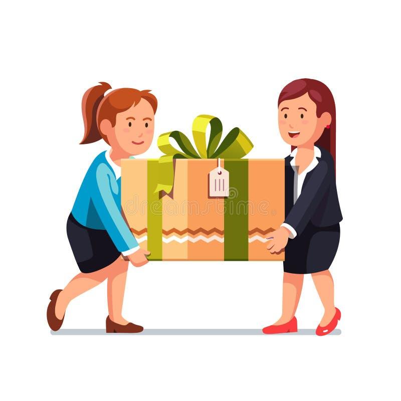 Dwa biznesowa kobieta niesie dużego wakacyjnego prezenta pudełko royalty ilustracja