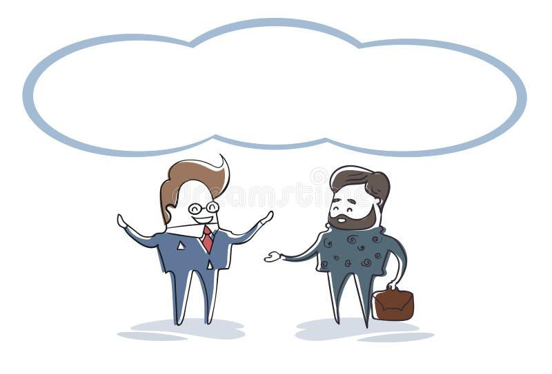 Dwa Biznesowego mężczyzna mówienie, biznesmena spotkania dyskusi postać z kreskówki Folująca długość ilustracja wektor