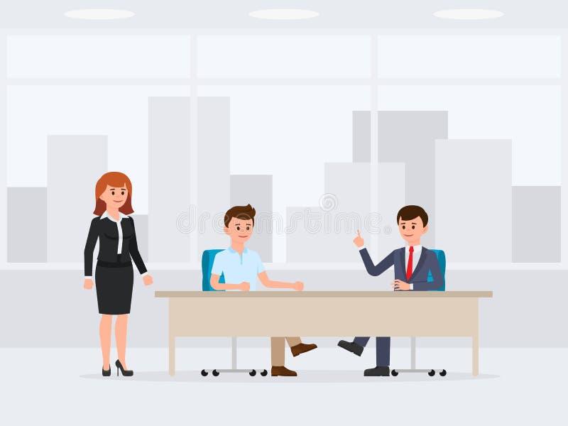 Dwa biznesowego mężczyzna obsiadanie przy biurowym stołowym postać z kreskówki Wektorowa ilustracja spotkanie, negocjacja royalty ilustracja