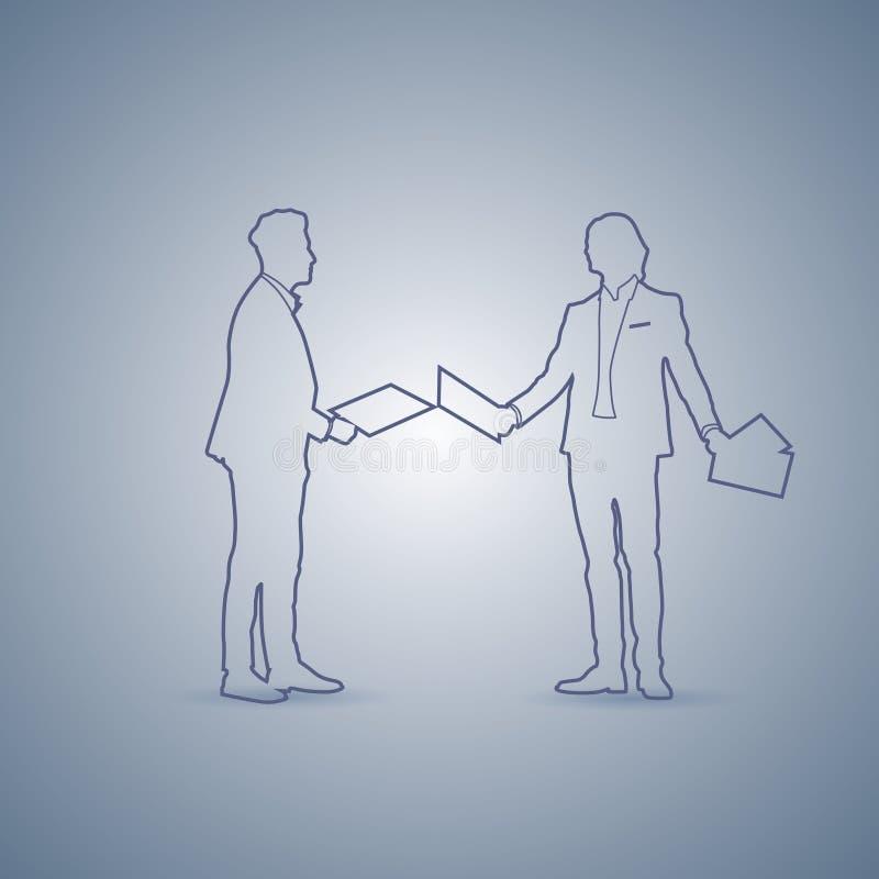 Dwa Biznesowego mężczyzna sylwetki spotkanie Mówi dyskusja dokumentu pojęcie ilustracja wektor