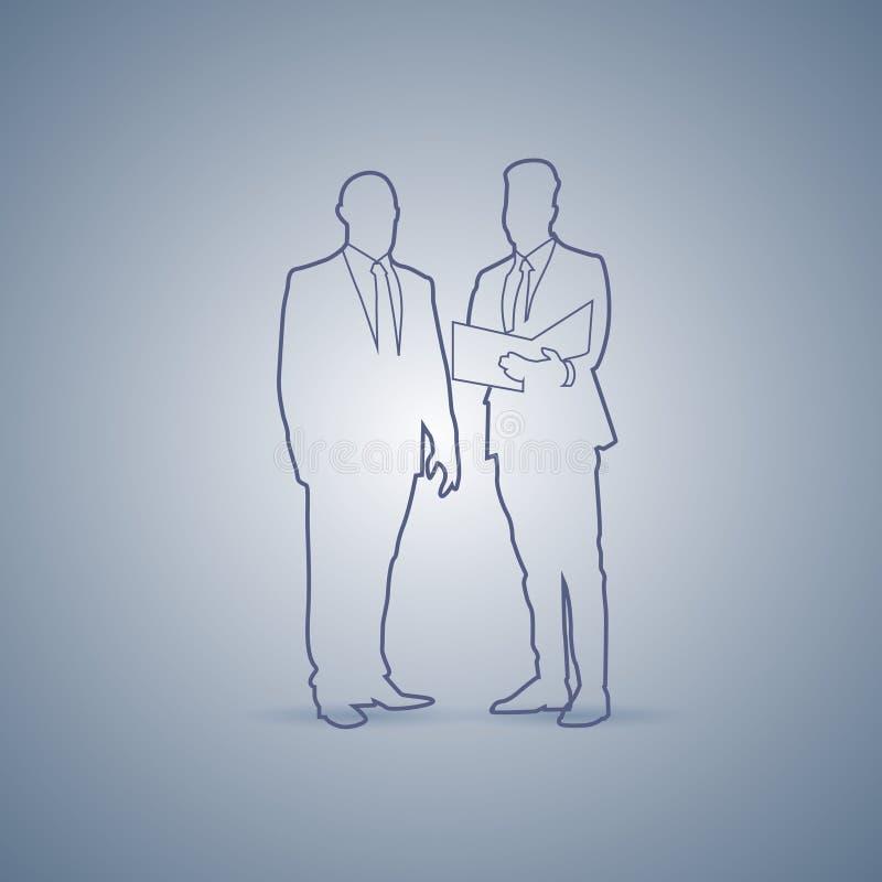 Dwa Biznesowego mężczyzna sylwetki spotkanie Mówi dyskusja dokumentu pojęcie royalty ilustracja