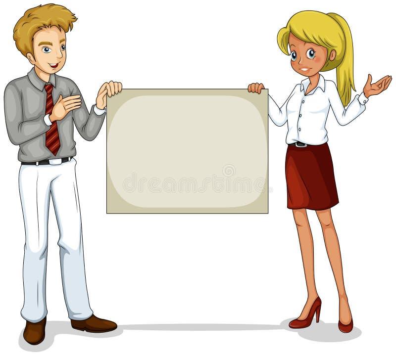 Download Dwa Biznesowej Ikony Trzyma Pustego Signage Ilustracji - Obraz: 33615200