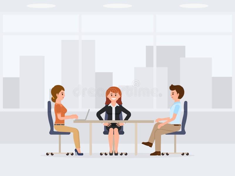 Dwa biznesowej kobiety i mężczyzna obsiadanie przy biurowym stołowym postać z kreskówki Spotkanie, negocjacja, rozmów coworkers ilustracja wektor