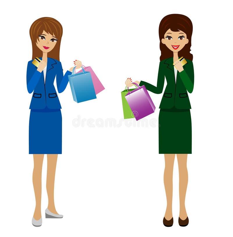 Dwa biznesowej kobiety z kredytowymi kartami i zakupy w rękach ilustracji