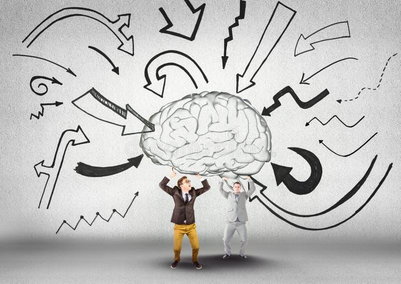 Dwa biznesowy obsługują nieść mózg z strzała graficznymi ilustracji