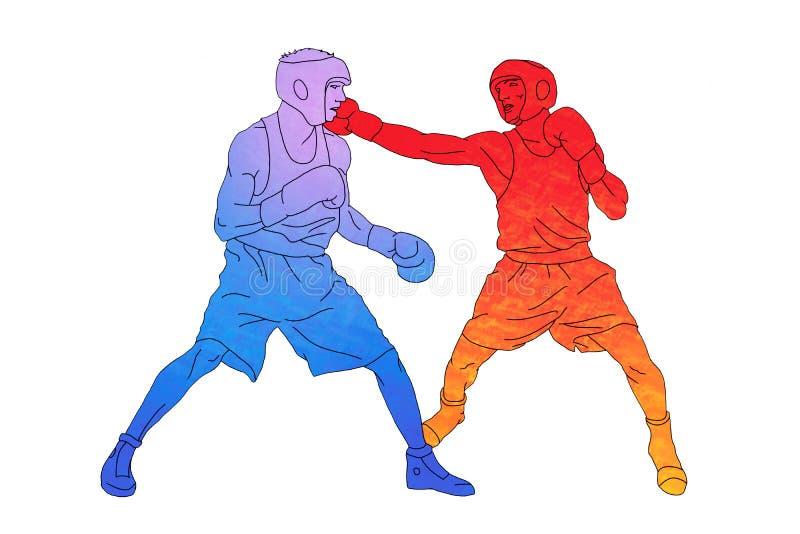 Dwa boksera na pierścionku na białym tle ilustracji