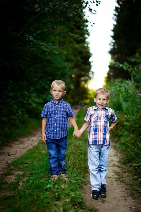 Dwa brata ściska each inny plenerowego zdjęcia royalty free