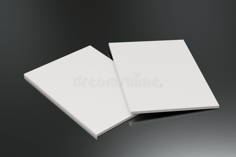 Dwa broszurki pusty biały zamknięty egzamin próbny na oczyszczonym metalu tle ilustracja wektor