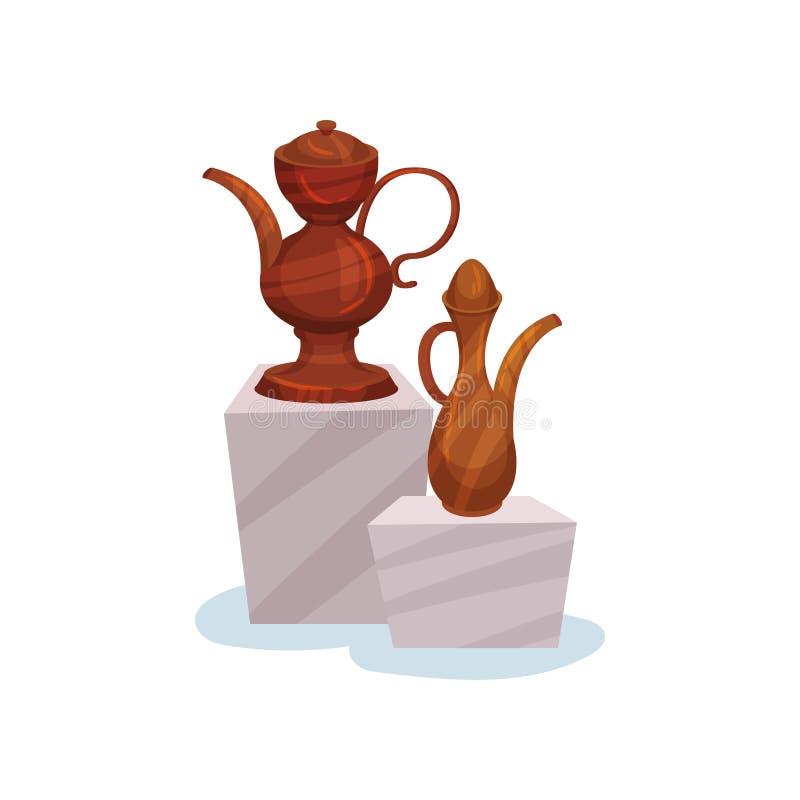 Dwa brown ceramicznego dzbanka z deklami, rękojeściami i długimi spouts, Antyczne amfory na stojakach Muzealni eksponaty Płaska w ilustracja wektor