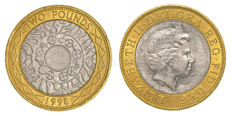 Dwa brytyjskiego funta moneta obraz stock