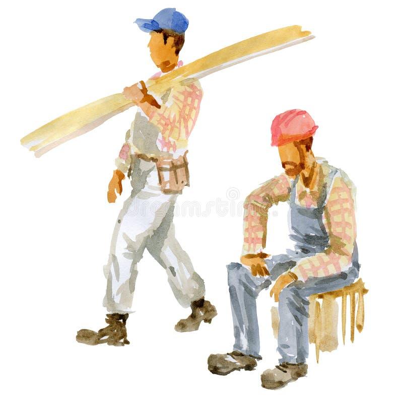 Dwa budowniczy na białym tle ilustracja wektor