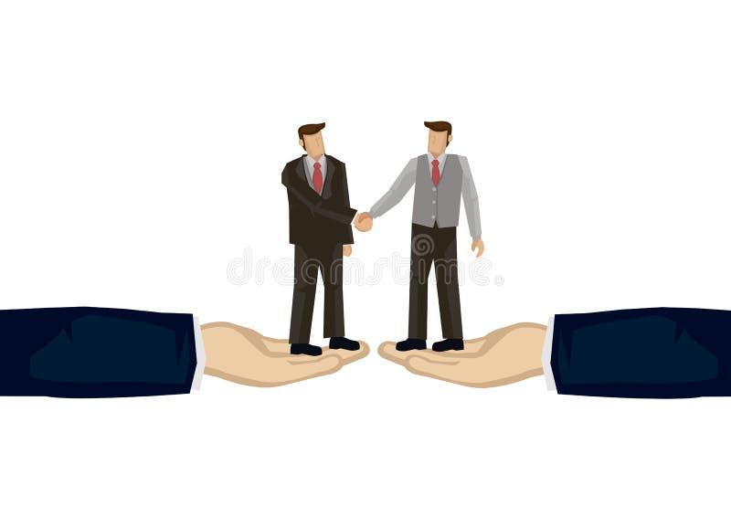 Dwa bussinessman chwiania ręki na górze dwa gigantycznych ręk Concep royalty ilustracja