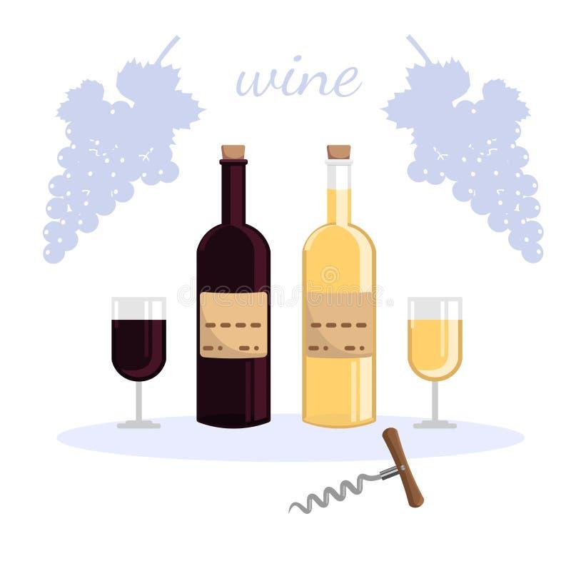 Dwa butelki wino i dwa szkła wino, biel i czerwone wino, ilustracji