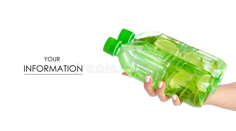 Dwa butelki woda z wapnem w ręka wzorze obraz stock