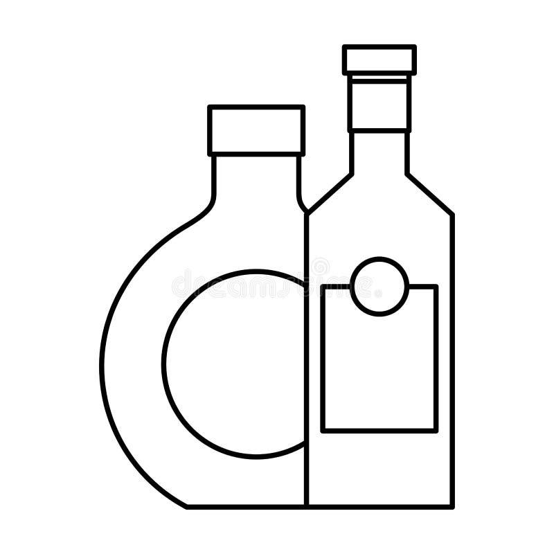 Dwa butelkują napoju trunek odizolowywającego projekt ilustracja wektor