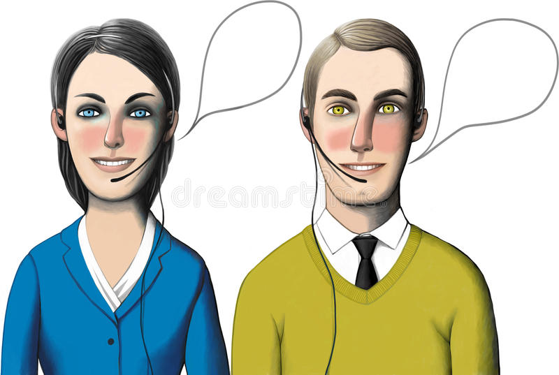 Dwa centrum telefoniczne pracownika ilustracja wektor