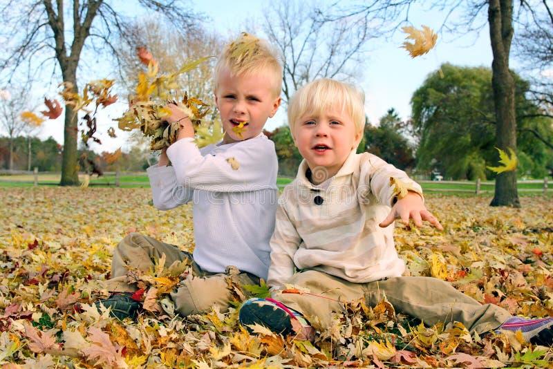 Dwa chłopiec Bawić się Outside miotanie spadku liście fotografia royalty free