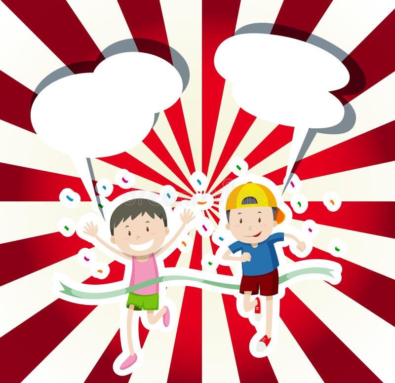 Dwa chłopiec biega w rasie ilustracji