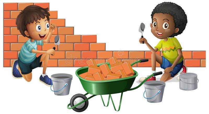 Dwa chłopiec buduje cegły wpólnie ilustracja wektor