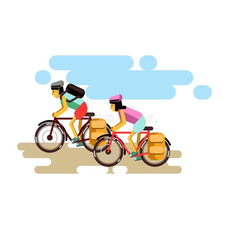 Dwa chłopiec i dziewczyny jeździć na rowerze wektorowa ilustracja w płaskim projekcie royalty ilustracja