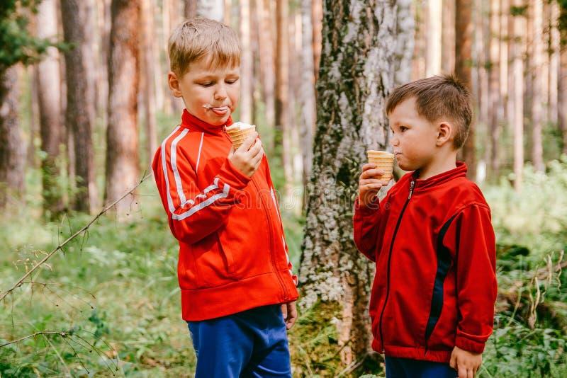 Dwa chłopiec je lody w gofr filiżankach outdoors obrazy stock