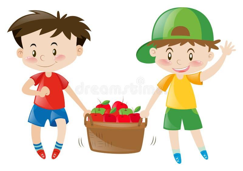 Dwa chłopiec niesie koszykowy pełnego jabłka ilustracja wektor