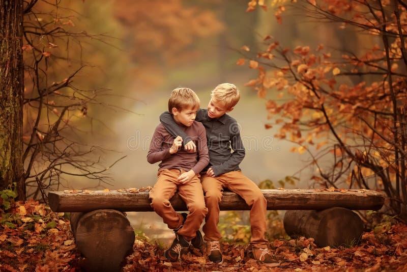 Dwa chłopiec siedzi na ławce stawem obraz royalty free