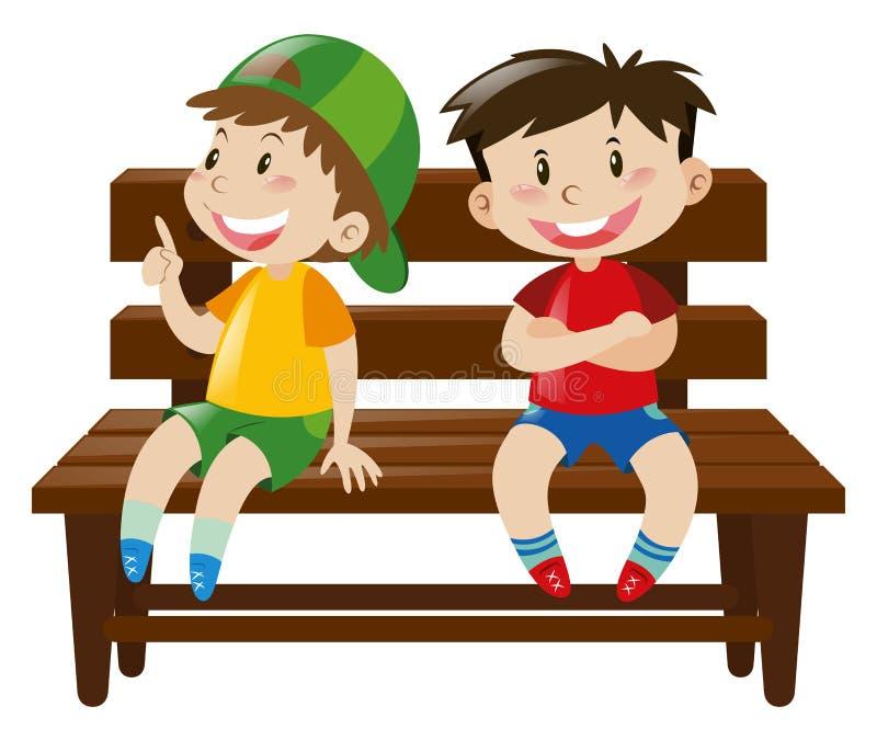 Dwa chłopiec siedzi na drewnianym krześle ilustracji