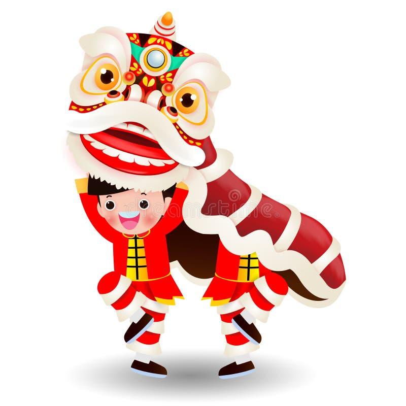 Dwa chłopiec wykonują lwa tana, Szczęśliwy Chiński nowy rok 2020, dzieciaki bawić się Chińskiego lwa tana, kreskówek dzieci wekto ilustracja wektor