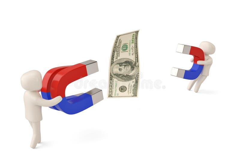 Dwa charakteru trzyma dużych magnesy przyciągać dolara 3D illustra royalty ilustracja
