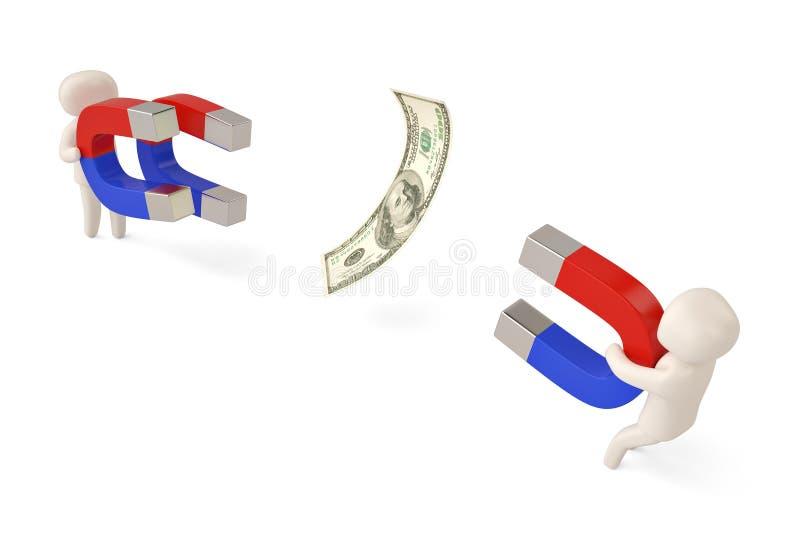 Dwa charakteru trzyma dużych magnesy przyciągać dolara 3D illustra ilustracji