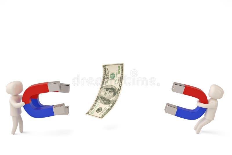 Dwa charakteru trzyma dużych magnesy przyciągać dolara 3D illustra ilustracja wektor