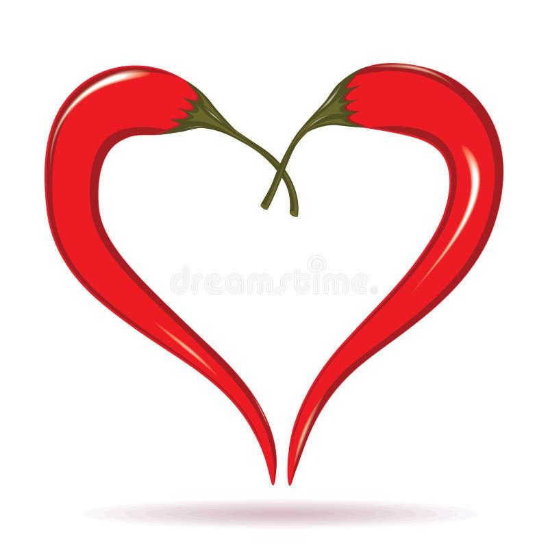 Dwa chili pieprzu tworzy kształt serce. Gorący kochanka symbol. ilustracji