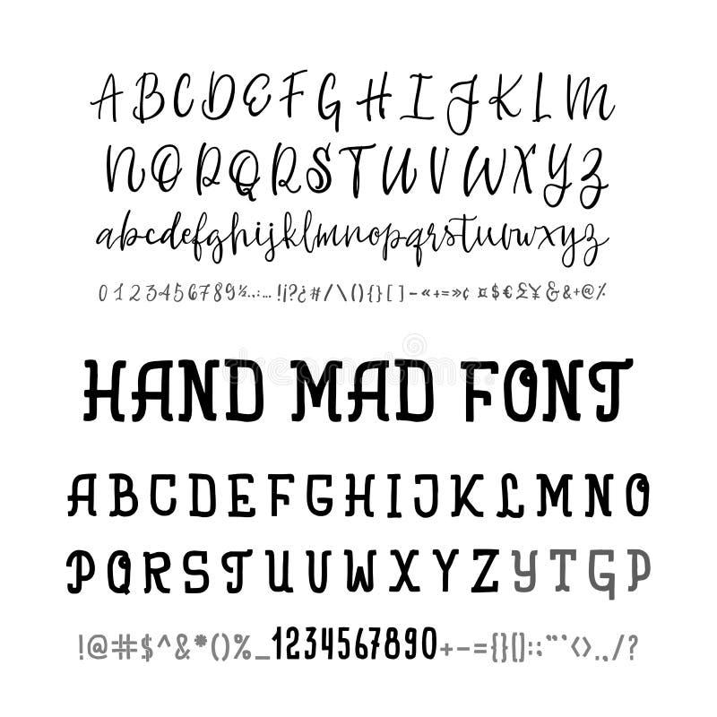 Dwa chrzcielnica Wektorowa ręka rysujący typeface Muśnięcie malujący listy Handmade abecadło dla twój projektów: logo, plakaty, p ilustracja wektor