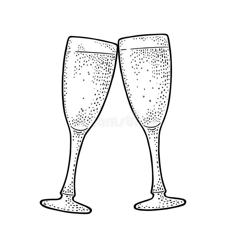 Dwa clinking szkła szampańskiego Rocznika czarny wektorowy rytownictwo ilustracja wektor