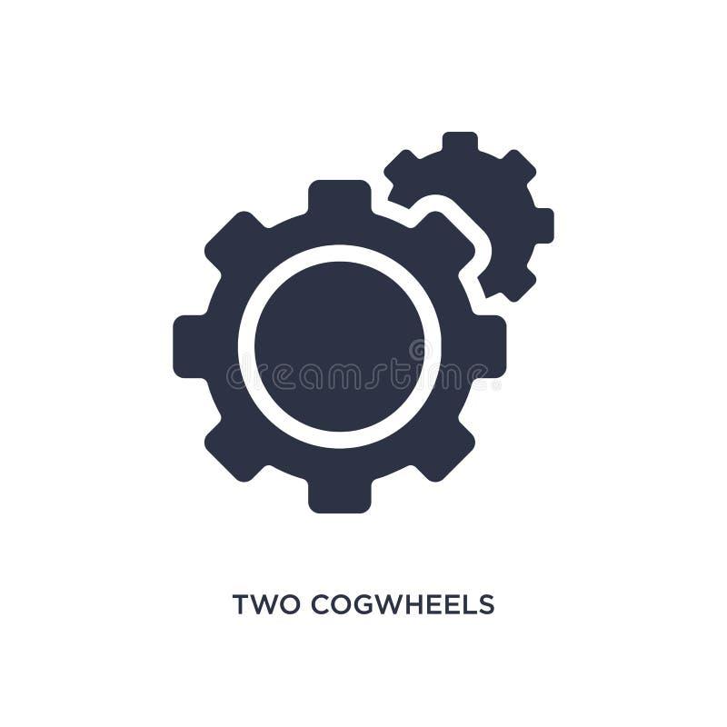 dwa cogwheels ikona na białym tle Prosta element ilustracja od mechanicons pojęcia ilustracji