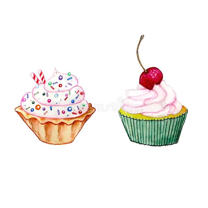 Dwa cupcackes akwareli kolorowy rysunek obrazy stock