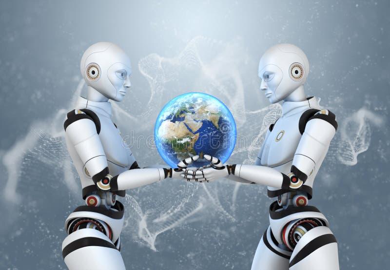 Dwa cyborga trzyma ziemię w ich rękach royalty ilustracja