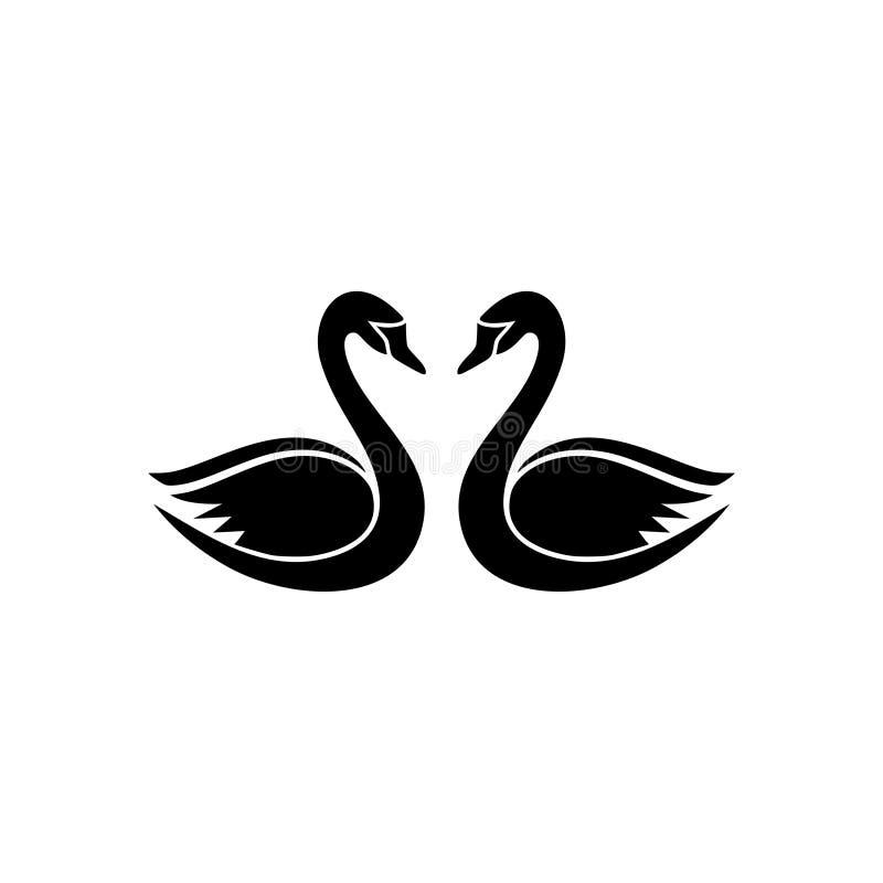 Dwa czarnego ?ab?d? logo ilustracji