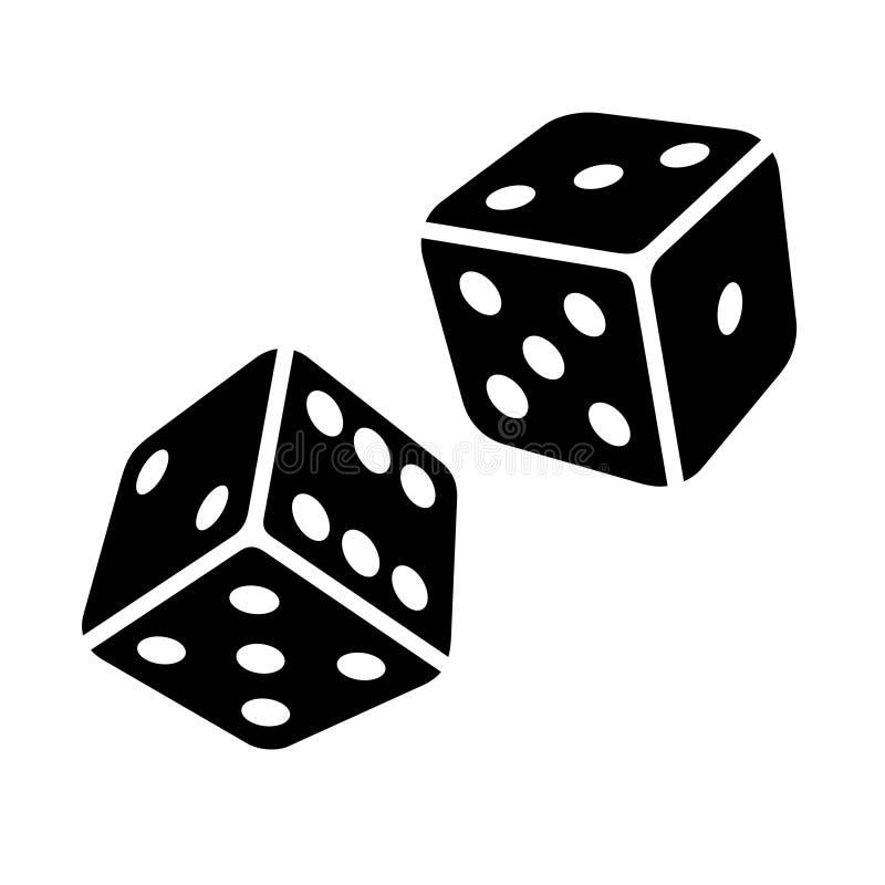 Dwa Czarnego kostka do gry sześcianu na Białym tle. Wektor royalty ilustracja