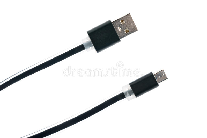 Dwa czarnego mikro kablowego włącznika na białym odosobnionym tle Horyzontalna rama obraz royalty free