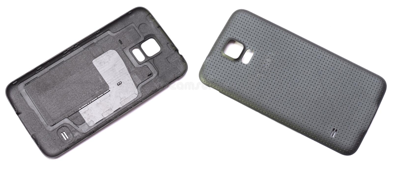 Dwa czarnego smartphone tylnej pokrywy zdjęcia stock