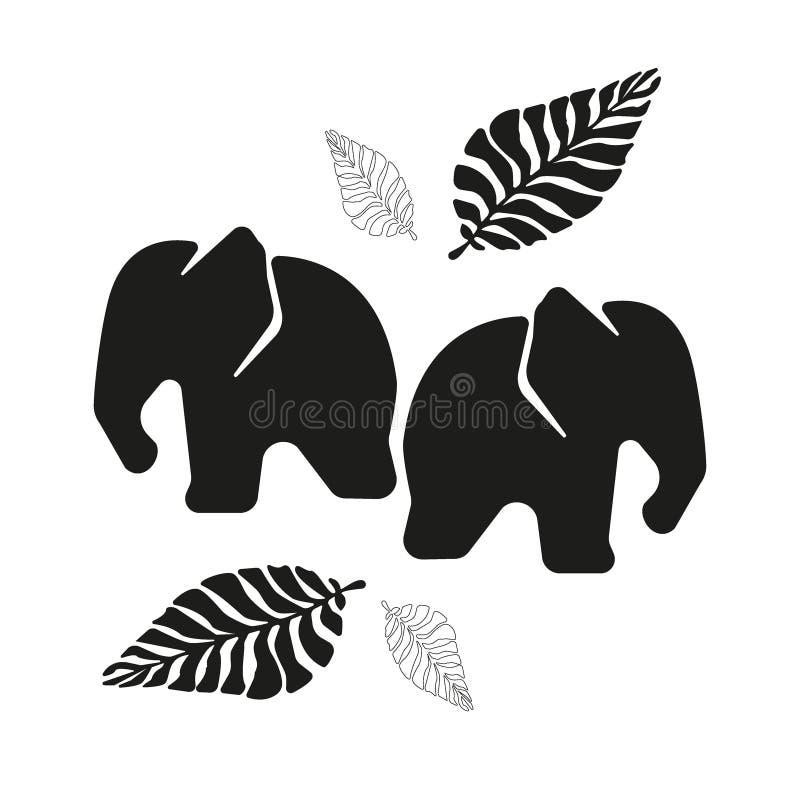 Dwa czarnej gałąź paproć na białym tle i słonie ilustracji