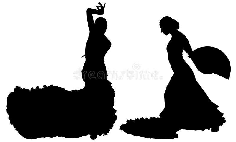 Dwa czarnej sylwetki żeński flamenco tancerz ilustracja wektor